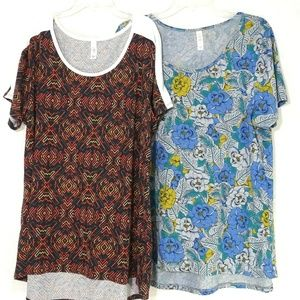 Lot of 2 LulaRoe Irma Tunic Top Women Plus Size 2X